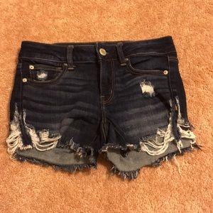 American Eagle dark wash denim shortie shorts